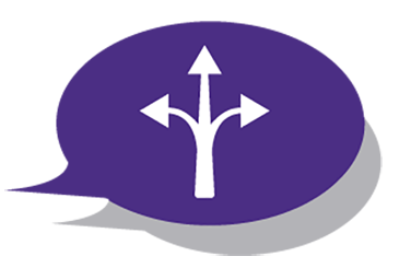 Purple speech bubble filled with branching directional arrow